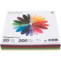 Paper Poetry Origami basic 7,5x7,5cm 200 Blatt 20 Farben