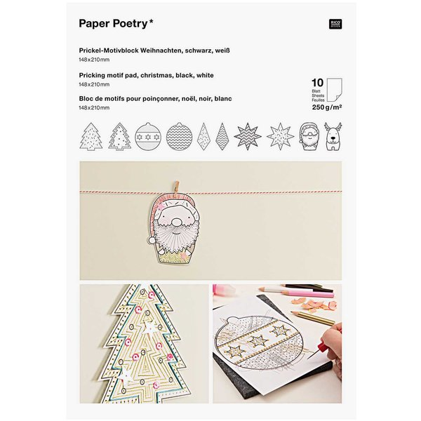 Paper Poetry Prickelblock Weihnachten schwarz-weiß 21x14,8cm 10 Seiten
