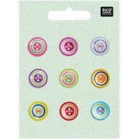 Rico Design Knopfmix mehrfarbig 1,5cm 9 Stück