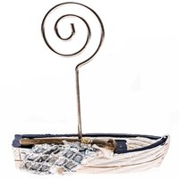 Kartenhalter Ruderboot weiß-blau 6,8cm