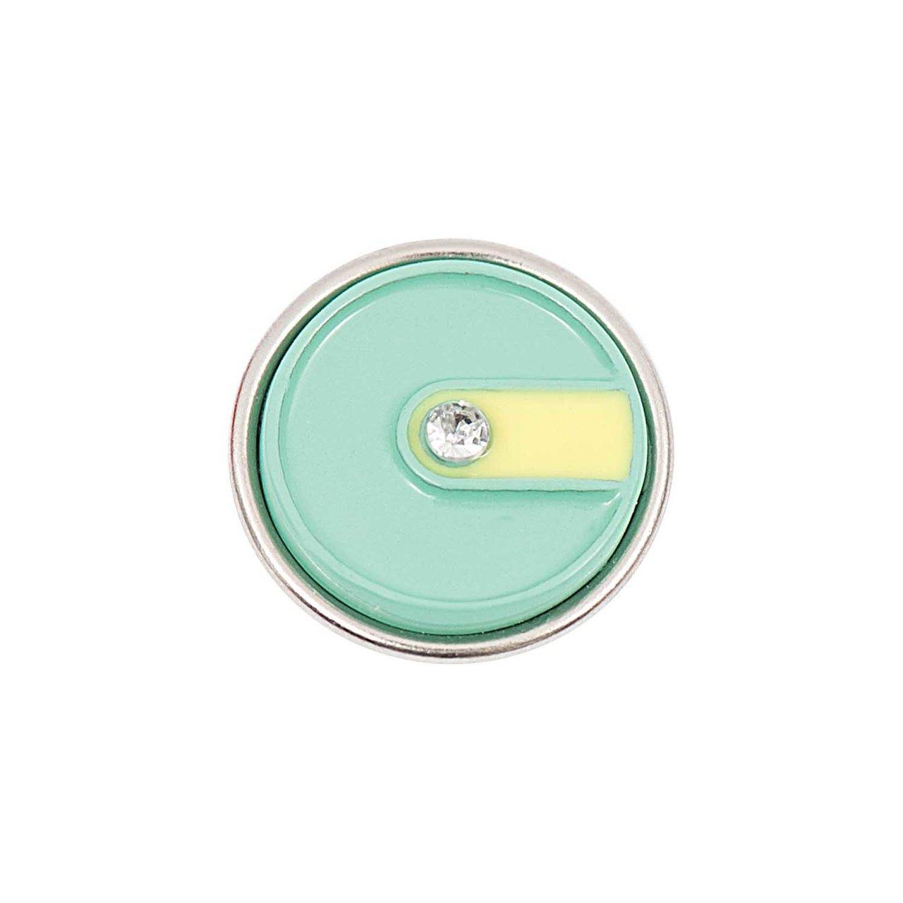 Rico Design Knopf Schlitz gelb-grün mit Streife...