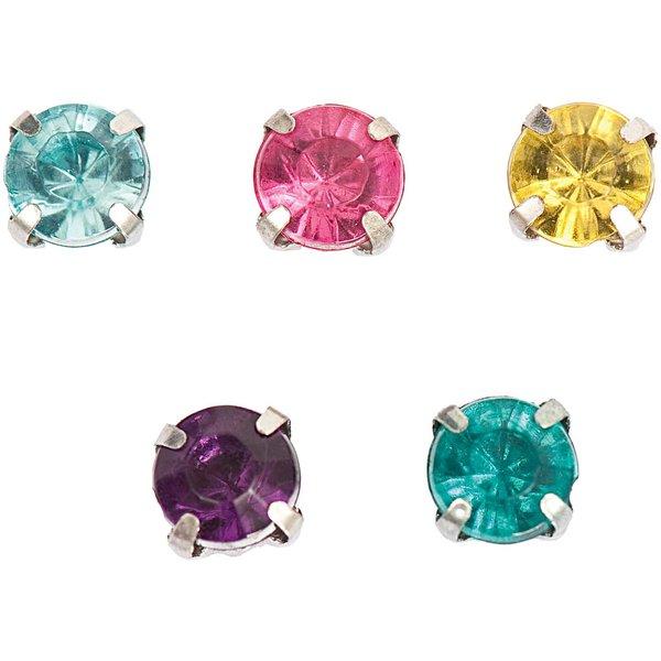 Jewellery Made by Me Aufnähsteine gefasst mehrfarbig rund 6x6x5mm 20 Stück