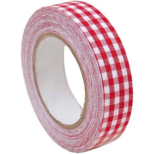 Rico Design Stofftape kariert rot-weiß 5m selbstklebend
