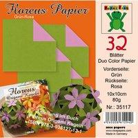 Nice Papers Floreus Faltblätter Duo grün-rosa 10x10cm 32 Blatt