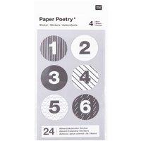 Paper Poetry Adventskalender Sticker schwarz-weiß 24 Stück