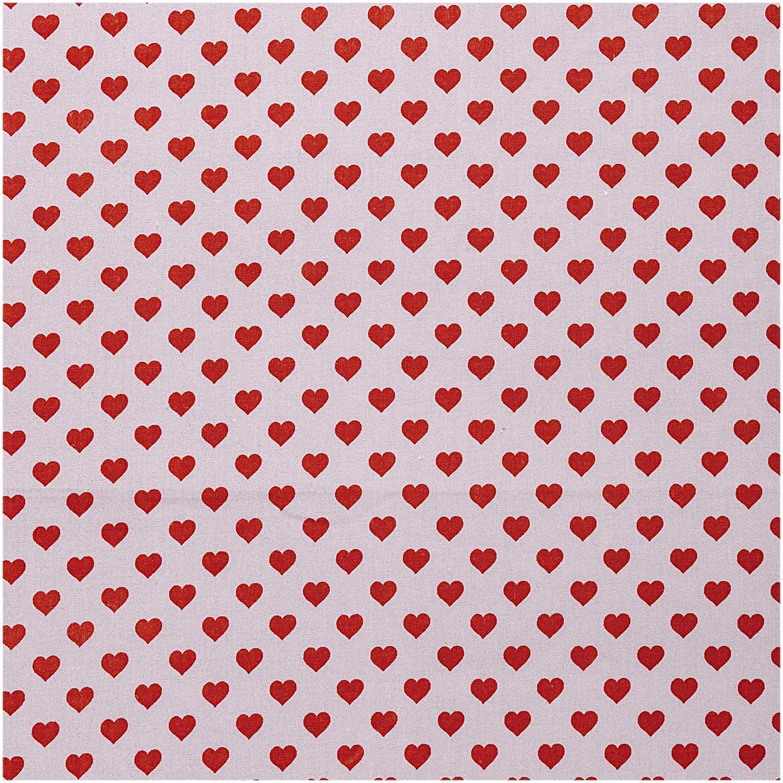 Fliederfarbener Druckstoff mit roten Herzen von Rico Design