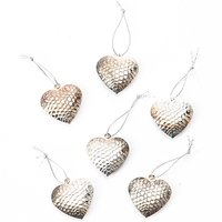 Herzen silber 3,7cm Metall 6 Stück
