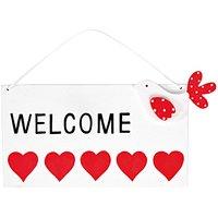 Rico Design Türschild Welcome rot-weiß 10x18cm