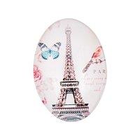 Jewellery Made by Me Cabochon Eifelturm oval pastell 25x18mm Glas