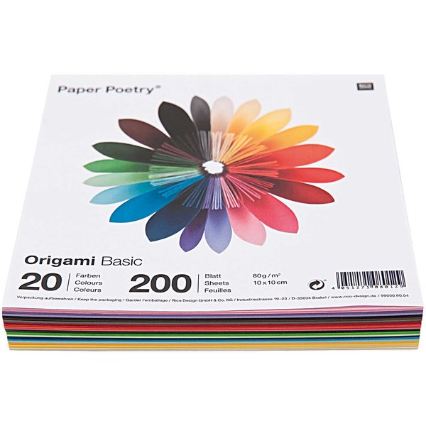 Paper Poetry Origami basic 10x10cm 200 Blatt 20 Farben
