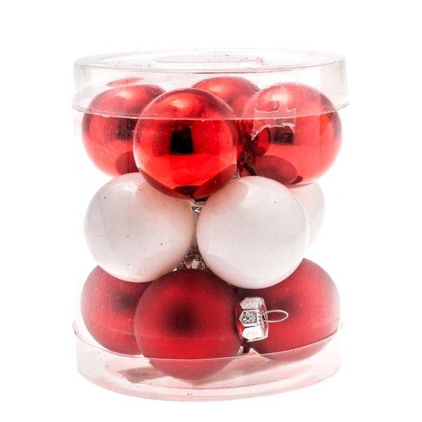 Christbaumkugeln rot-weiß 3cm 12 Stück