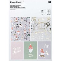 Paper Poetry  Postkartenblock Jolly Christmas pastell 12,5x17,6cm