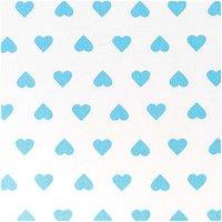 Rico Design Stoff weiß-hellblaue Herzen 50x55cm