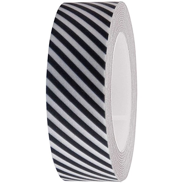 Rico Design Tape weiß-dunkelgrau gestreift 15mm 10m