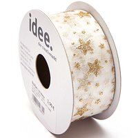 Band Organza Sterne creme-gold 38mm 5m
