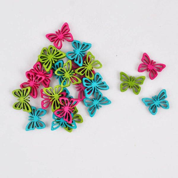 Streu Schmetterlinge pink/türkis/grün Holz 2cm 24 Stück