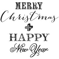 Rico Design Stempel Merry Christmas & Happy New Year 3,5x3,5cm