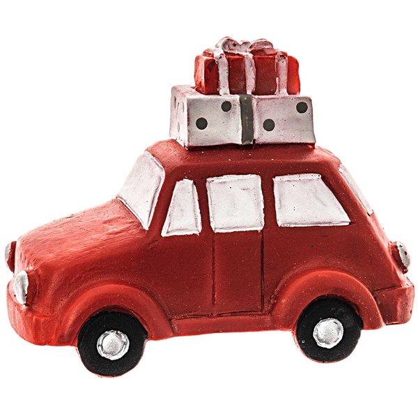 Deko-Auto mit Geschenken rot-weiß 5x4cm
