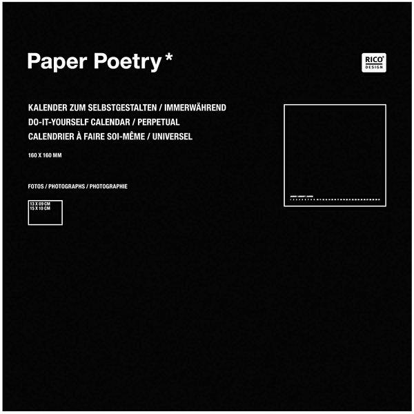 Paper Poetry Bastelkalender immerwährend schwarz 16x16cm