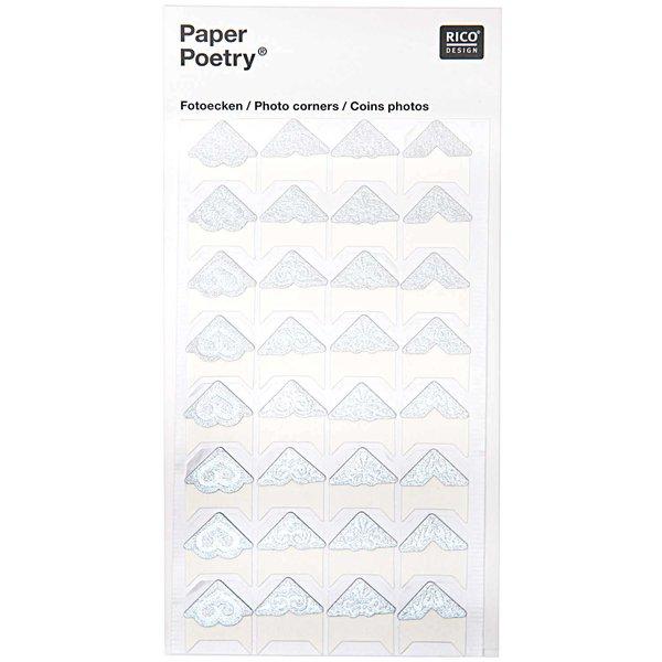 Paper Poetry Design Fotoecken silber 32 Stück