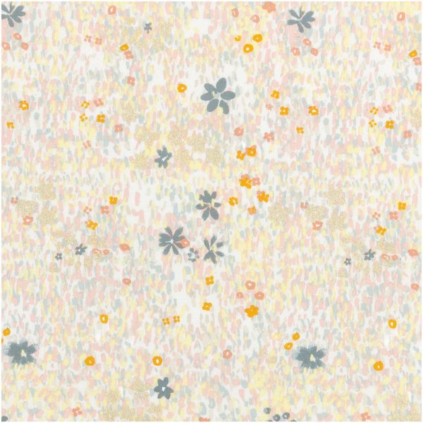 Rico Design Druckstoff Crafted Nature Blumenwiese grau metallic 140cm