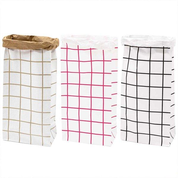 Paper Poetry Maxi-Blockbodenbeutel XL Karo 76x32x18cm 1 Stück