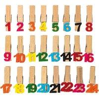 Adventskalender Zahlen an Klammern 1-24 bunt