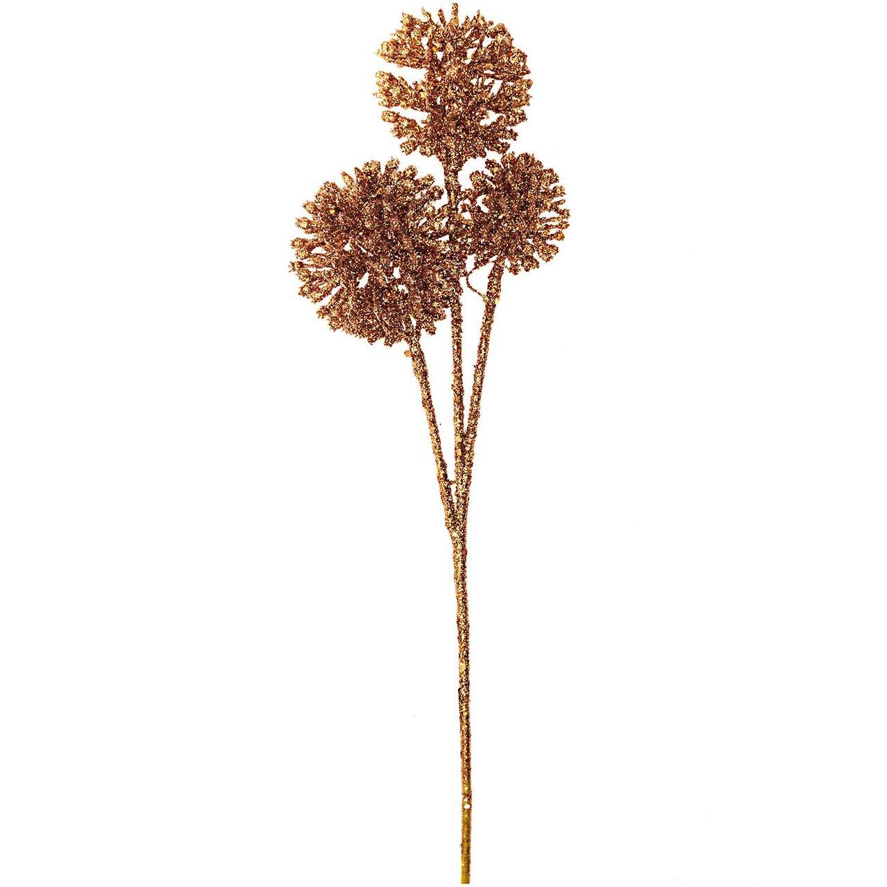Pom Pom Zweig mit Glitter kupfer 30cm