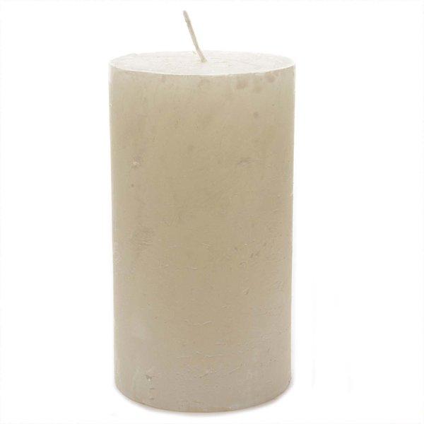 Stumpenkerze metallic rustikal weiß 12cm