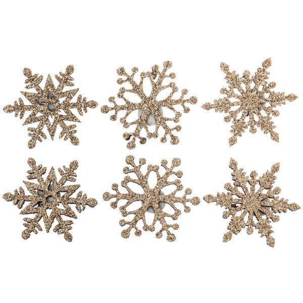 Filz-Schneeflocken zum Kleben rosé-gold-glitter 3,5cm 6 Stück