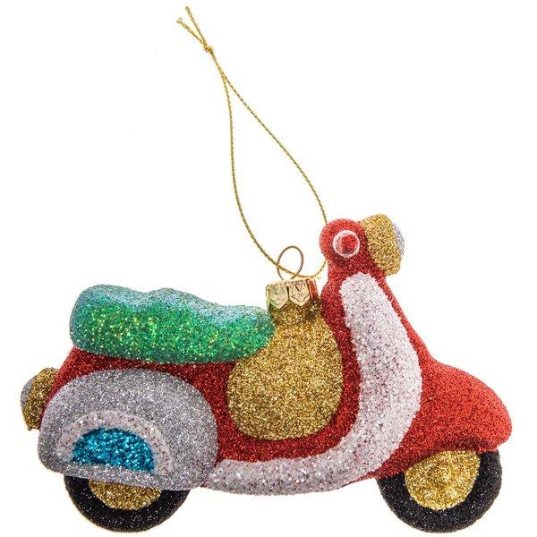 Baumschmuck Motorroller rot-glitter 13,5cm