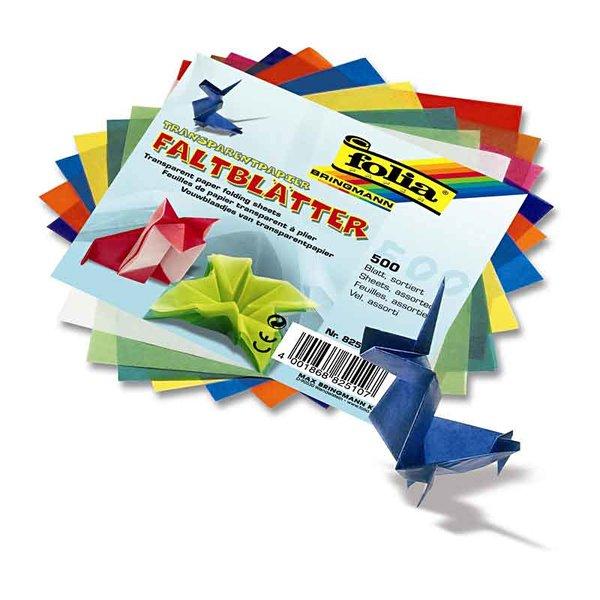 folia Transparentpapier Faltblätter mehrfarbig 15x15cm 500 Blatt