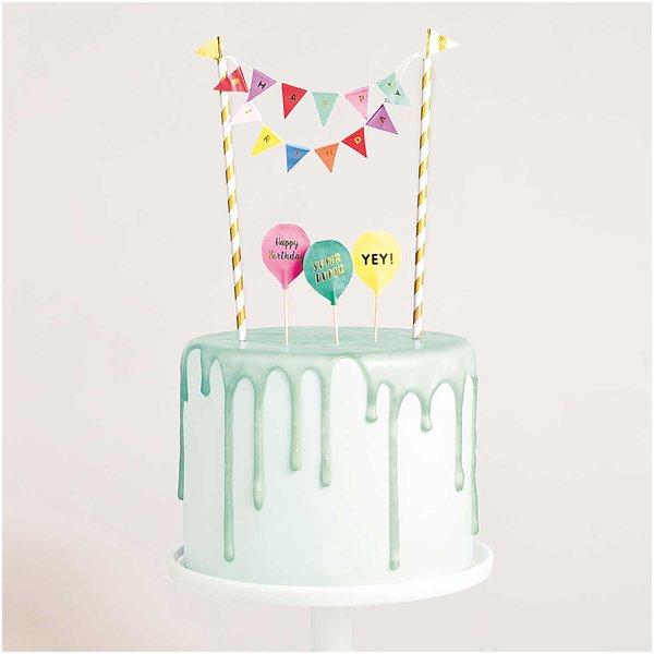 YEY! Let's Party Kuchendekoration Happy Birthday multicolor