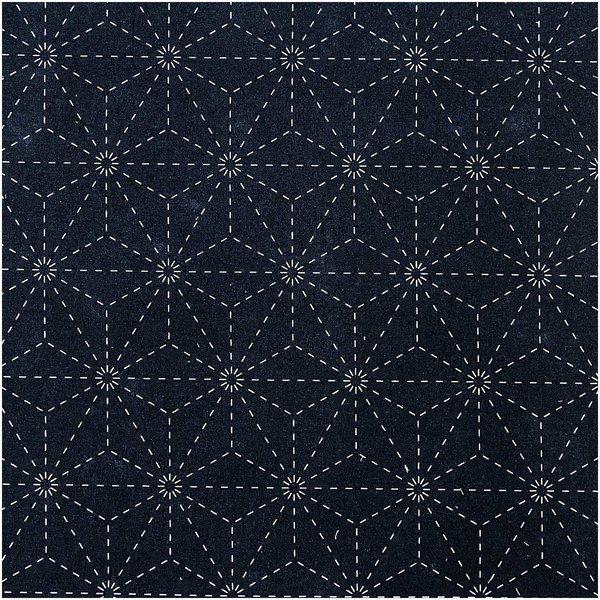 Rico Design Druckstoff Jardin Japonais Sterne dunkelblau-creme 50x140cm