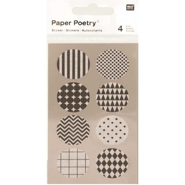 Paper Poetry Washi Sticker schwarz-weiß 4 Bogen