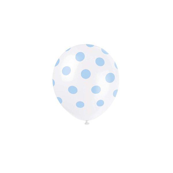 Partystrolche Luftballons hellblau gepunktet 30cm 6 Stück