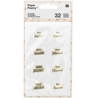 Paper Poetry Sticker Just Married gold 4 Blatt