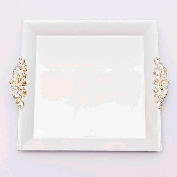 Tablett weiß-gold 29x26cm Kunststoff