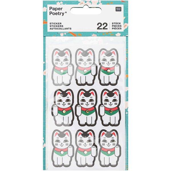 Paper Poetry Sticker Jardin Japonais Winkekatzen 22 Stück