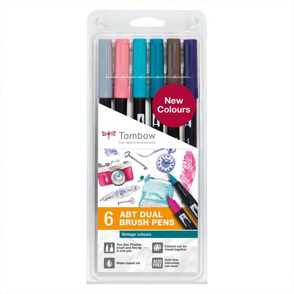 Tombow ABT Dual Brush Pen-Set Vintage Colours 6teilig