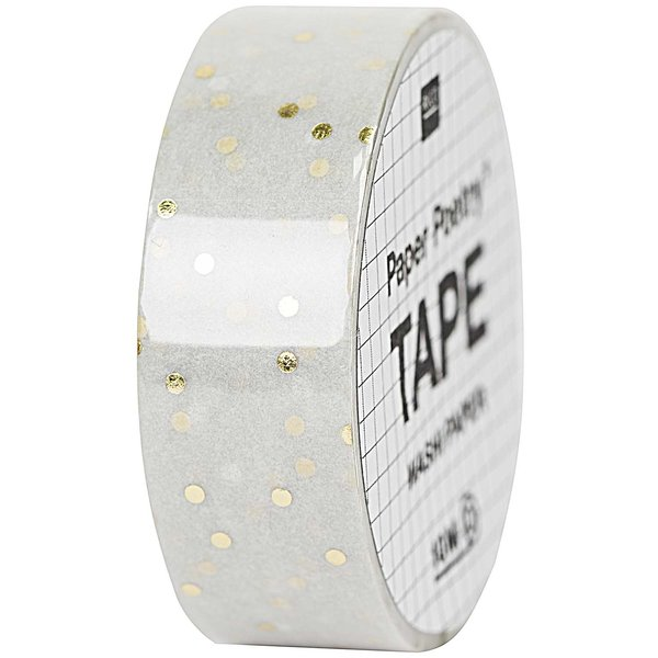 Paper Poetry Tape Punkte grau-gold 1,5cm 10m