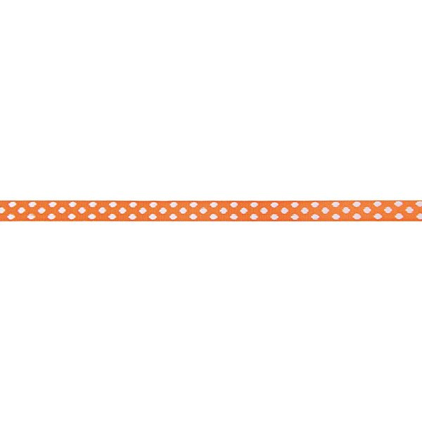 Rico Design Ribbons gewebte Pünktchen orange-weiß 2m