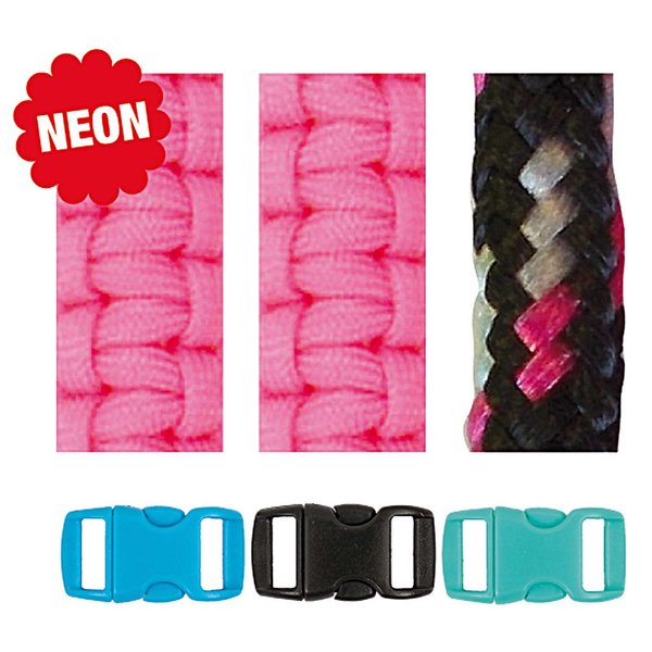 Jewellery Made by Me Paracord Set neonpink-schwarz 4mm 6teilig
