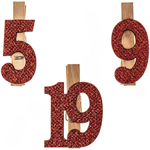 Adventskalenderzahlen am Clip 1-24 rot