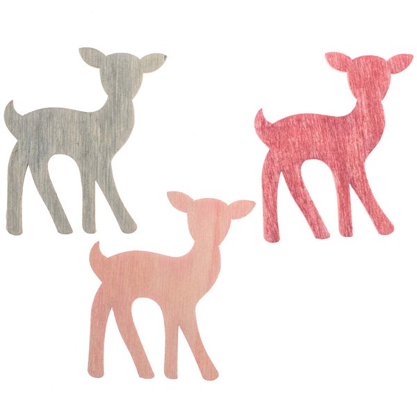 Rehstreu pink-rosa-grau 4cm 12 Stück