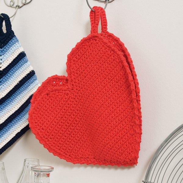 Herz Topflappen häkeln: Kostenlose Anleitungen verwenden »