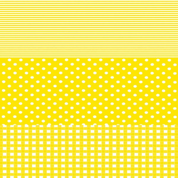 décopatch Papier Karo-Punkte gelb 3 Bogen