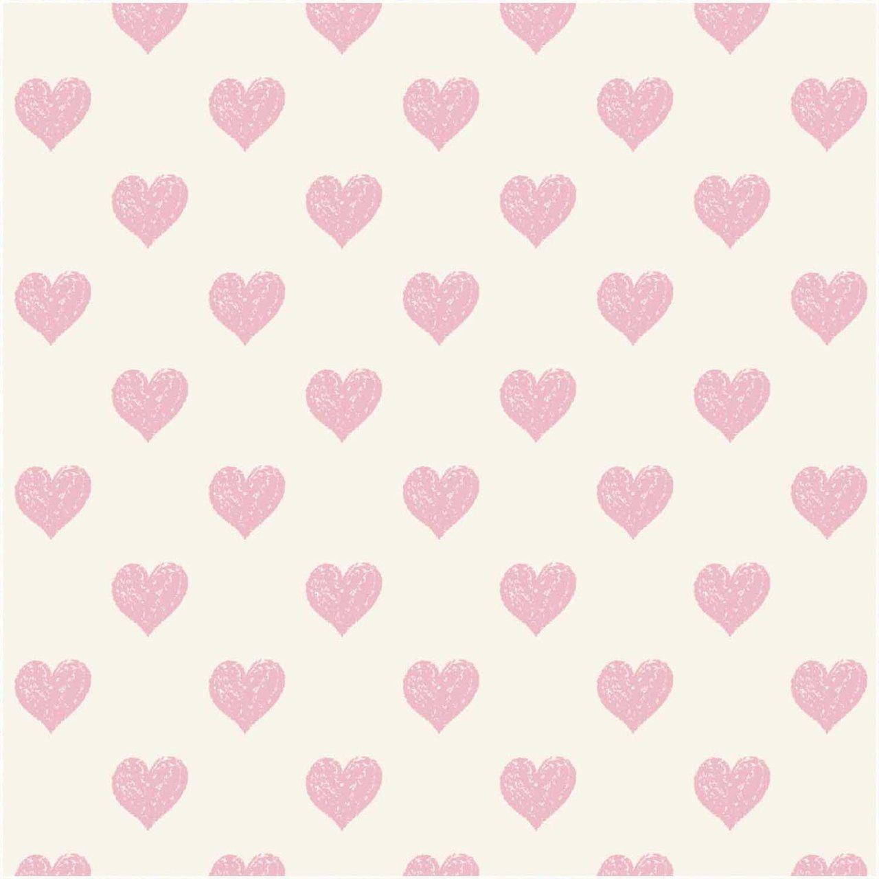 Rico Design Druckstoff Herzen hellgelb-rosa 140cm