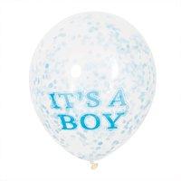 Partystrolche Luftballons Konfetti It's a boy 30cm 6 Stück