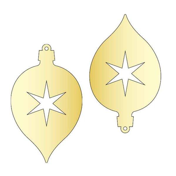 Rico Design Spiegel-Anhänger Zapfen rund gold 2 Stück